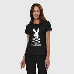 Пижама хлопковая женская Play Dalnoboy цвета черный — фото 2