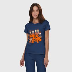 Пижама хлопковая женская MisFits Heroes цвета тёмно-синий — фото 2