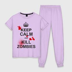 Пижама хлопковая женская Keep Calm & Kill Zombies цвета лаванда — фото 1