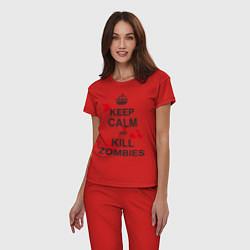 Пижама хлопковая женская Keep Calm & Kill Zombies цвета красный — фото 2