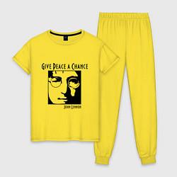 Пижама хлопковая женская Give Peace a Chance цвета желтый — фото 1