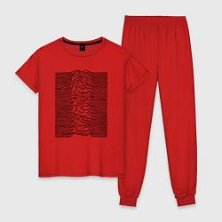 Пижама хлопковая женская Unknown Pleasures цвета красный — фото 1