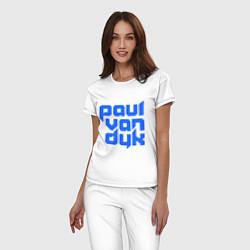 Пижама хлопковая женская Paul van Dyk: Filled цвета белый — фото 2