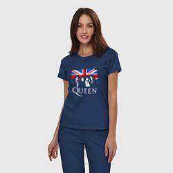 Пижама хлопковая женская Queen UK цвета тёмно-синий — фото 2