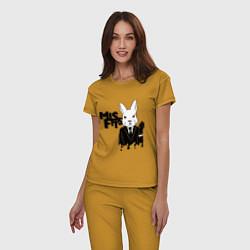 Пижама хлопковая женская Misfits Rabbit цвета горчичный — фото 2