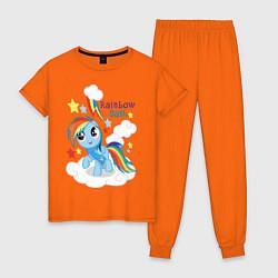 Пижама хлопковая женская Rainbow Dash цвета оранжевый — фото 1