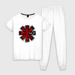 Пижама хлопковая женская Red Hot Chili Peppers цвета белый — фото 1