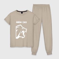 Пижама хлопковая женская R6S Lion цвета миндальный — фото 1