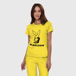 Пижама хлопковая женская PlayLenin цвета желтый — фото 2