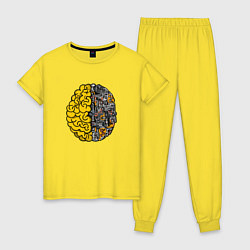Пижама хлопковая женская Мозг инженера цвета желтый — фото 1