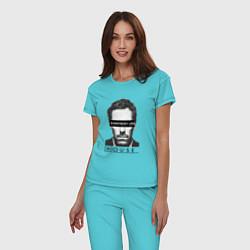 Пижама хлопковая женская Everyboy Lies цвета бирюзовый — фото 2