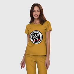 Пижама хлопковая женская World wrestling entertainment цвета горчичный — фото 2