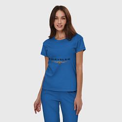 Пижама хлопковая женская Chrysler logo цвета синий — фото 2
