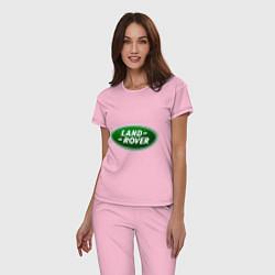 Пижама хлопковая женская Logo Land Rover цвета светло-розовый — фото 2