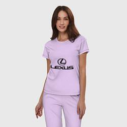 Пижама хлопковая женская Lexus logo цвета лаванда — фото 2