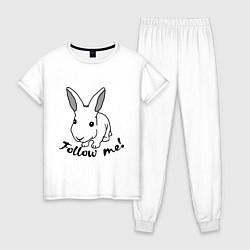 Пижама хлопковая женская Rabbit: follow me цвета белый — фото 1