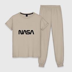 Пижама хлопковая женская NASA цвета миндальный — фото 1