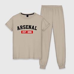 Пижама хлопковая женская FC Arsenal Est. 1886 цвета миндальный — фото 1