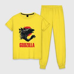 Пижама хлопковая женская Godzilla: Red Sun цвета желтый — фото 1