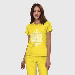 Пижама хлопковая женская Harvest Themselves цвета желтый — фото 2