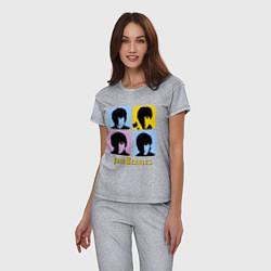 Пижама хлопковая женская The Beatles: pop-art цвета меланж — фото 2