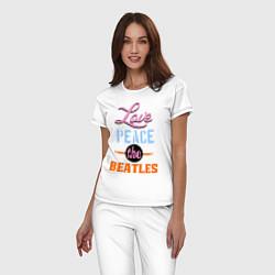 Пижама хлопковая женская Love peace the Beatles цвета белый — фото 2