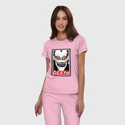 Пижама хлопковая женская Death Obey цвета светло-розовый — фото 2