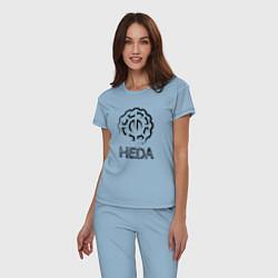 Пижама хлопковая женская Heda цвета мягкое небо — фото 2