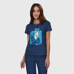 Пижама хлопковая женская Лошадь-бизнесмен цвета тёмно-синий — фото 2