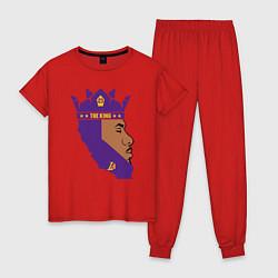 Пижама хлопковая женская LeBron: The King цвета красный — фото 1