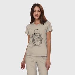 Пижама хлопковая женская Yo-landi цвета миндальный — фото 2