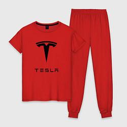 Пижама хлопковая женская TESLA Mobile цвета красный — фото 1