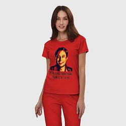 Пижама хлопковая женская Elon Musk: Save Us цвета красный — фото 2