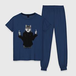 Пижама хлопковая женская Fuck wolf цвета тёмно-синий — фото 1