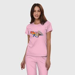 Пижама хлопковая женская Док и Марти цвета светло-розовый — фото 2
