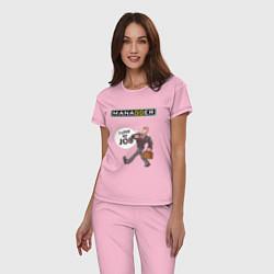 Пижама хлопковая женская MANAGGER цвета светло-розовый — фото 2