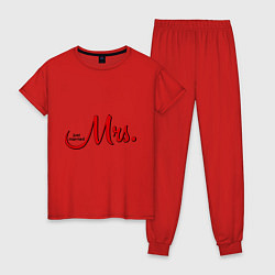 Пижама хлопковая женская Mrs: Just married цвета красный — фото 1