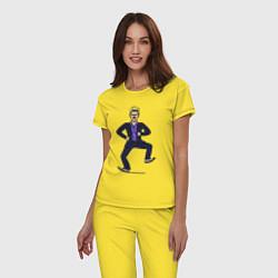 Пижама хлопковая женская Little Big цвета желтый — фото 2