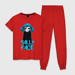 Пижама хлопковая женская Sally Face цвета красный — фото 1