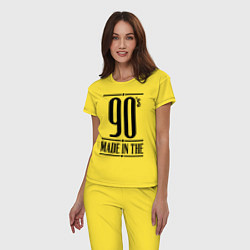 Пижама хлопковая женская Made in the 90s цвета желтый — фото 2