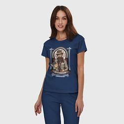 Пижама хлопковая женская Достоевский Федор цвета тёмно-синий — фото 2