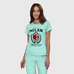 Пижама хлопковая женская Milan: I Rossoneri цвета мятный — фото 2