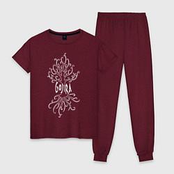 Пижама хлопковая женская Gojira цвета меланж-бордовый — фото 1