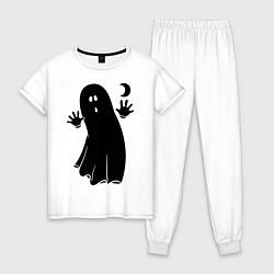 Пижама хлопковая женская Приведение цвета белый — фото 1