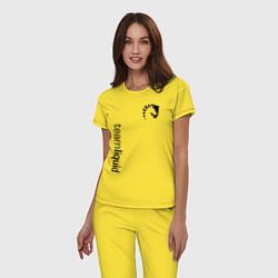 Пижама хлопковая женская TEAM LIQUID цвета желтый — фото 2