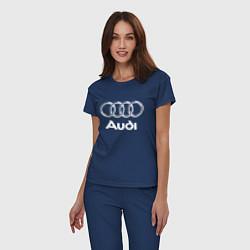 Пижама хлопковая женская AUDI цвета тёмно-синий — фото 2
