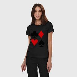 Пижама хлопковая женская Масти карт цвета черный — фото 2