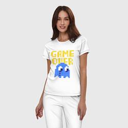 Пижама хлопковая женская Pac-Man: Game over цвета белый — фото 2