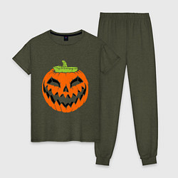 Пижама хлопковая женская Хэллоуин тыква цвета меланж-хаки — фото 1