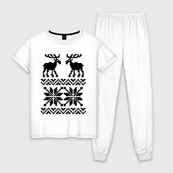 Пижама хлопковая женская Узор с оленями цвета белый — фото 1